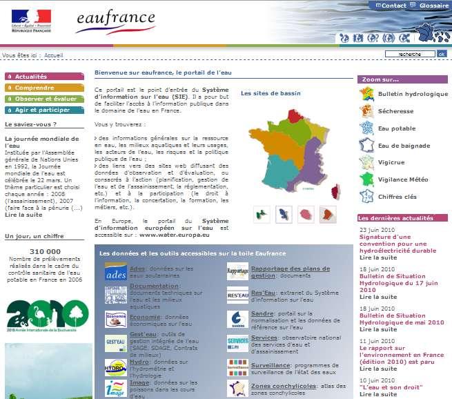 Eaufrance : le portail de l'eau en France, pour connaître la qualité des eaux. © Onema / MEEDDM