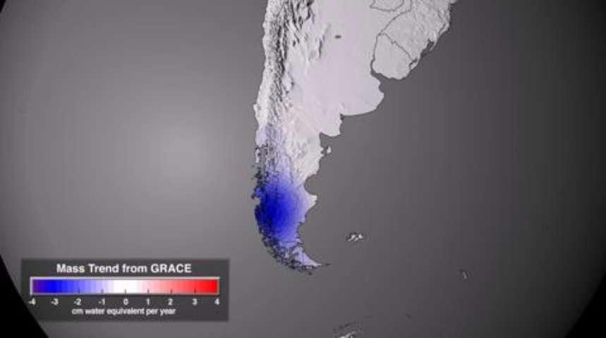 Évolution de la masse des glaces du Globe entre 2003 et 2010