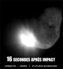 La comète, 16 secondes après l'impact avec Deep Impact