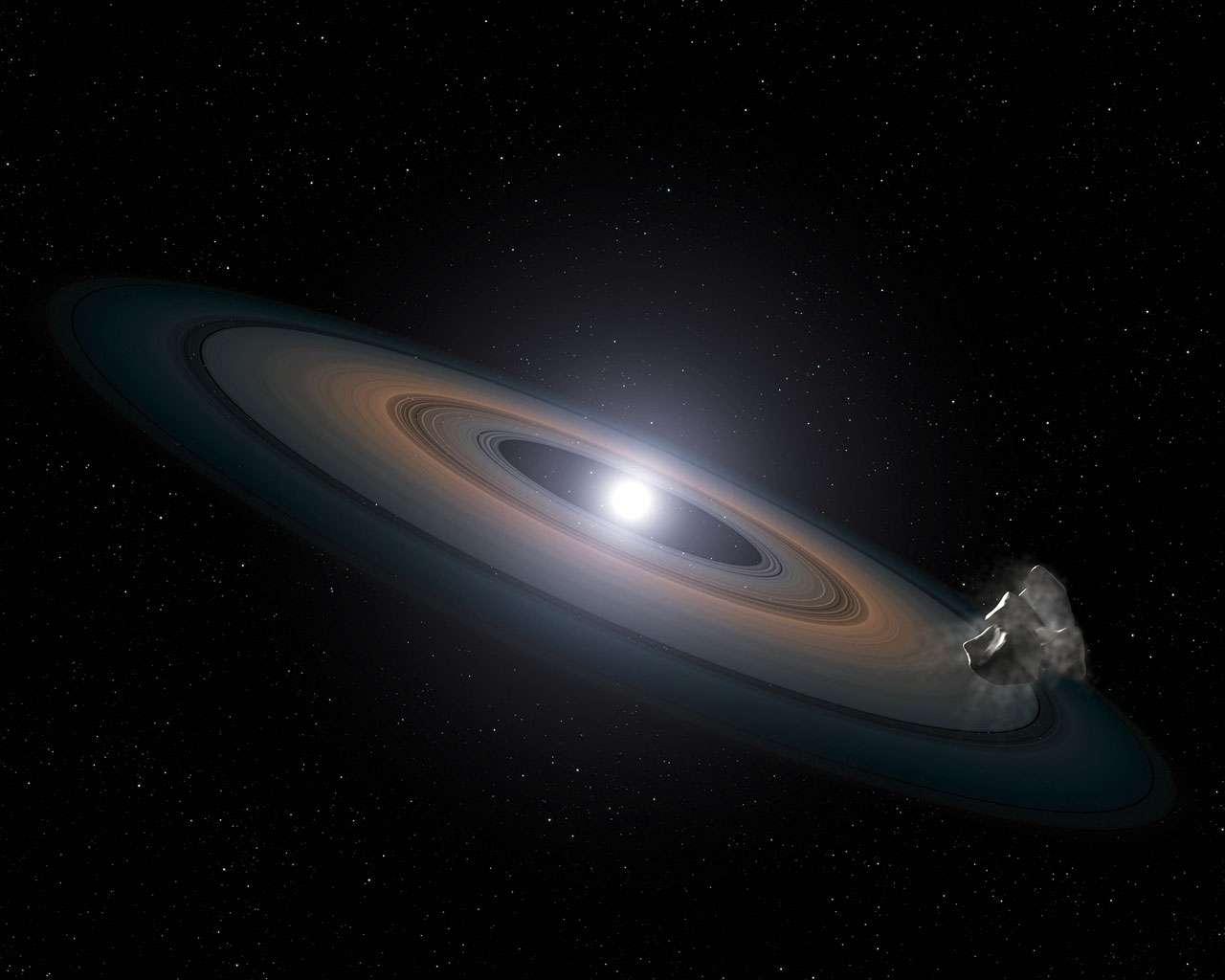 Une vision d'artiste d'un disque de débris autour d'une naine blanche. Des poussières et des petits corps célestes seraient responsables d'une accrétion de matière sur l'étoile, maintenant dans son atmosphère des éléments lourds comme le fer et le silicium. © Nasa, Esa, STScI, G. Bacon (STScI)