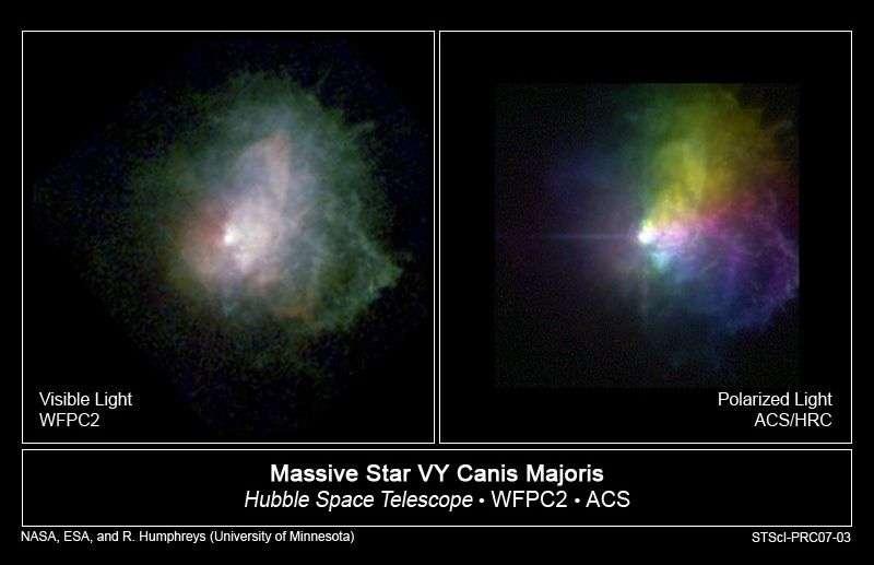 VY Canis Majoris et son nuage de gaz environnant, vus par le Hubble Space Telescope.