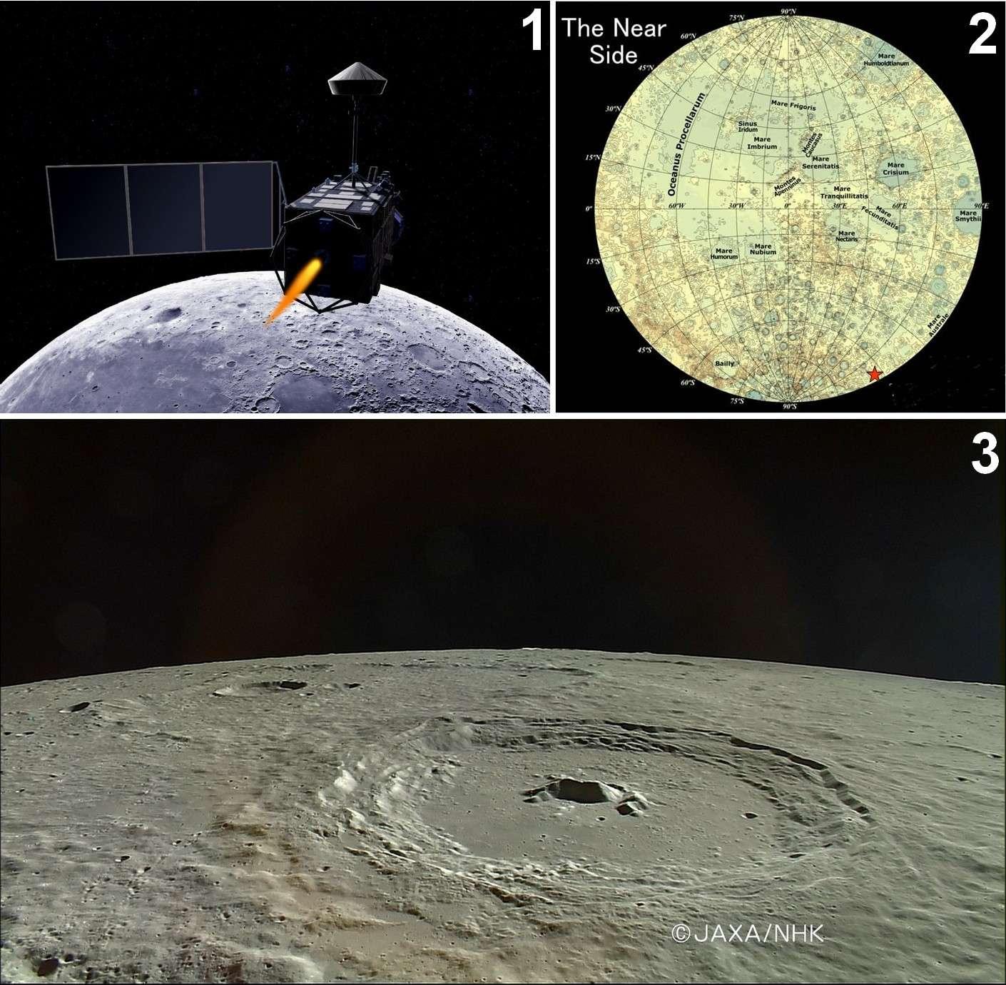 1 : La sonde Kaguya, vue d'artiste. 2 : Position de l'impact de la sonde sur la Lune. 3 : Le cratère Pythagore vu par Kaguya. Crédits Jaxa / NHK