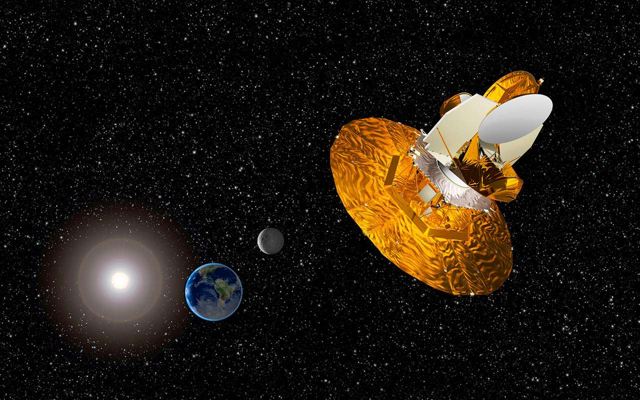 Une vue d'artiste de WMap dans l'espace. Crédit : Nasa / WMAP Science Team