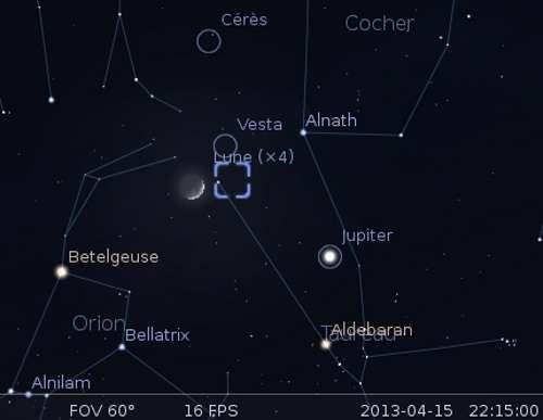 La Lune en rapprochement avec Vesta, la nébuleuse du Crabe et Alnath