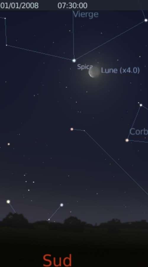 La Lune est proche de l'étoile Spica