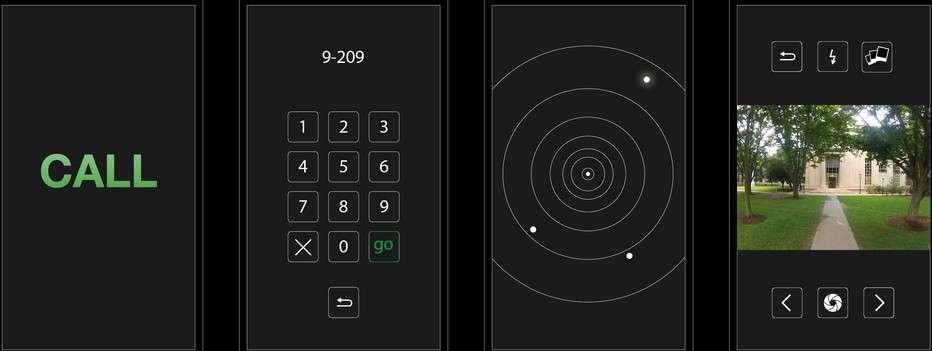 L'application mobile SkyCall permet à un visiteur ou un étudiant qui arrive sur le campus du MIT d'appeler un drone pour lui servir de guide. Une fois lancée la commande d'appel (Call), les coordonnées GPS du smartphone sont envoyées à l'appareil qui décolle et va retrouver son hôte. L'utilisateur n'a plus qu'à entrer le code qui correspond au bâtiment dans lequel il doit se rendre et suivre le drone. © MIT, Senseable City Lab
