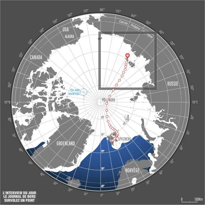 La position de Jean-Louis Etienne le 9 avril vers 12 h 00. Les îles visibles au niveau du cercle rouge sont celles de l'archipel de Nouvelle-Sibérie. Le port de Tiksi se situe sur la côte continentale, dans la baie à droite de la position actuelle et pas vraiment dans la direction suivie. © Jean-Louis Etienne / Expédition Generali Arctic Observer