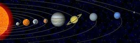 Notre système solaire. De gauche à droite : Mercure, Vénus, la Terre, Mars, Jupiter, Saturne, Uranus, Neptune, Pluton