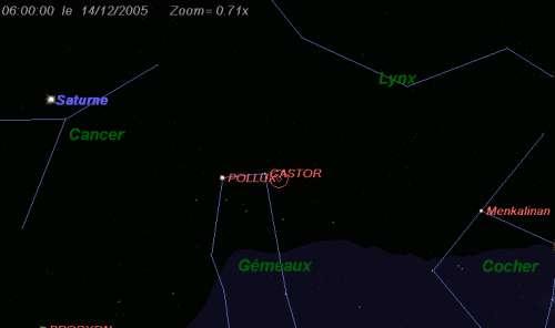 Maximum de l'essaim des météores des Géminides