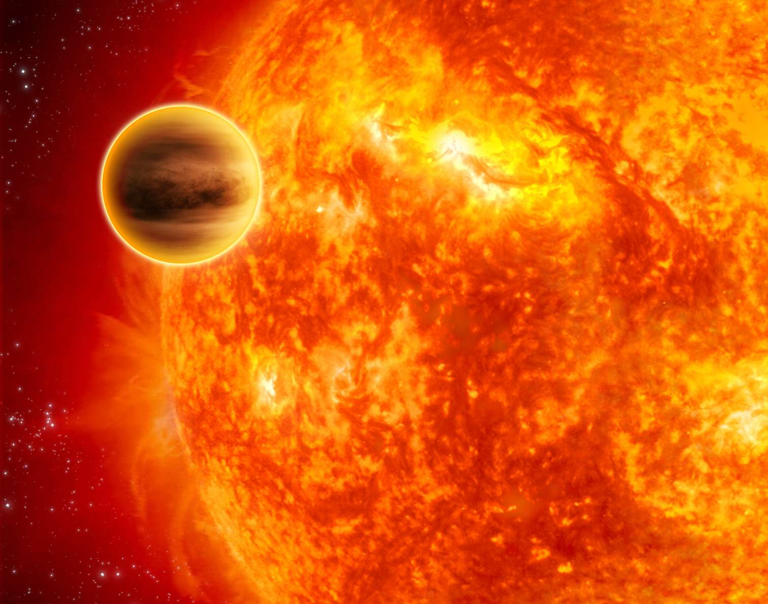 Une vue d'artiste représentant Wasp-12b autour de son soleil. Sa forme est en réalité celle d'un ballon de rugby. Crédit : Esa/C. Carreau