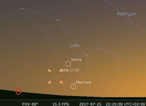 La Lune en rapprochement avec Mercure et Régulus