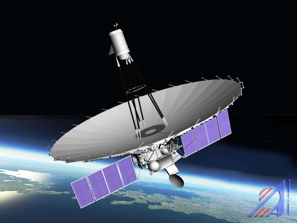 Une vue d'artiste du Hubble russe, RadioAstron (ou Spektr R), le radiotélescope spatial développé par le centre spatial Astro rattaché à l'institut de physique Lebedev. On considère souvent que c'est au Russe Alexandre Popov que l'on doit la première antenne alors qu'il prolongeait les découvertes de Hertz. © Tigovik, Wikipédia