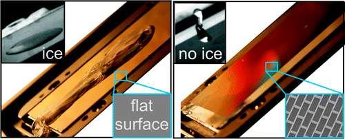 À gauche, une surface métallique parfaitement lisse : elle givre. À droite, la même surface porteuse d'un motif microscopique : elle ne givre pas. CQFD. © Joanna Aizenberg et al./ACS Nano