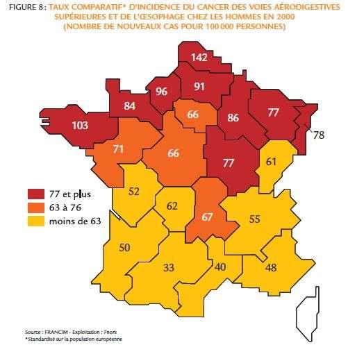 Répartition des cancers des voies digestives en 2000 sur le territoire français. Source INCA