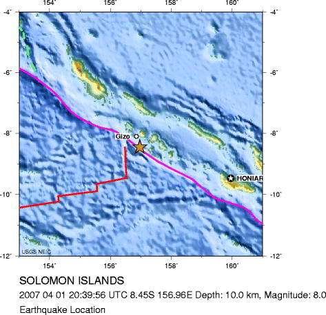 Les Îles Salomons et l'épicentre de la secousse sismique. Les traits représentent les failles de l'écorce terrestre.