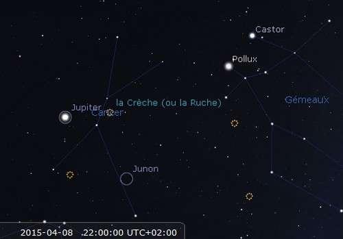 Jupiter en rapprochement avec l'amas de la Crèche