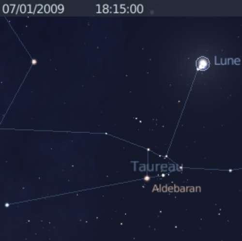 La Lune est en rapprochement avec les Pléiades et en occulte une partie