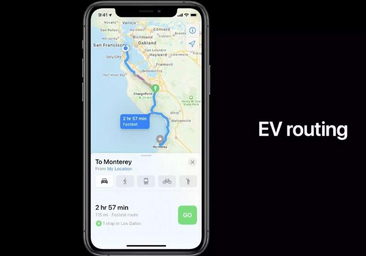 La mise à jour d'Apple Plans avec les itinéraires optimisés pour les voitures électriques. © Apple