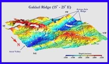 Vue 3-D de Bathymetry le long de la partie occidentale de l'arête de Gakkel, probablement le résultat de l'activité volcanique focalisée à long terme.