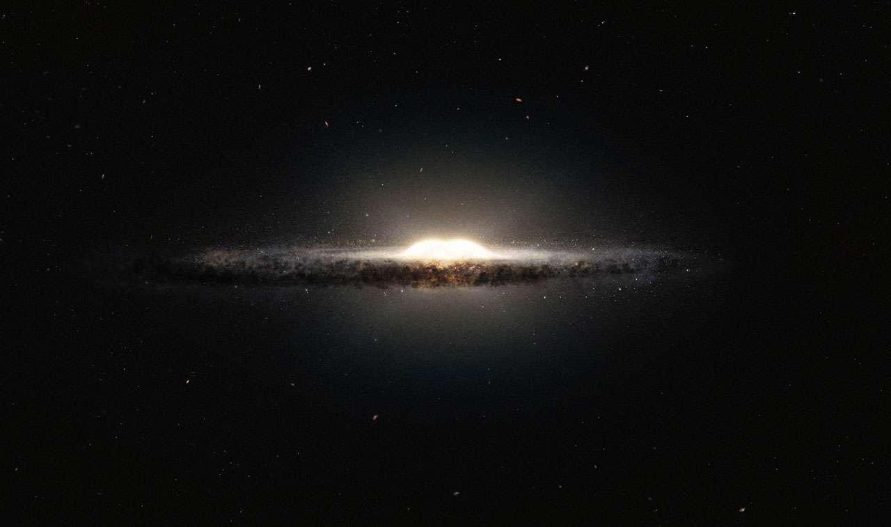 Cette vue d'artiste montre à quoi la Voie lactée ressemblerait si nous l'observions depuis le dessus et sous un angle différent de celui que nous avons depuis la Terre. Le bulbe central apparaît sous la forme d'une cacahuète constituée d'étoiles rougeoyantes, et les bras spiraux ainsi que les nuages de poussières associés constitueraient une bande étroite. © M. Kornmesser et R. Hurt, Eso, Nasa, JPL-Caltech