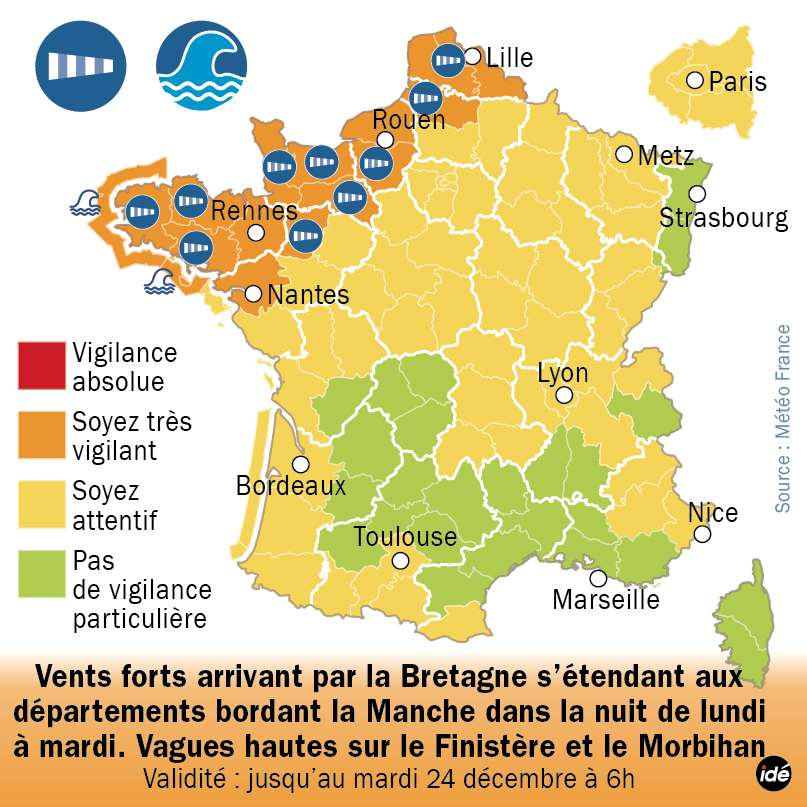 Les régions nord-ouest de la France sont placées en vigilance orange pour risques de vents violent et de phénomènes de surcote. Ces derniers ne devraient pas dépasser un mètre, mais les côtes risquent d'être bien balayées. Le 24 décembre 2013, la dépression se propagera vers l'est, et la France entière pourrait être sous la pluie. © idé