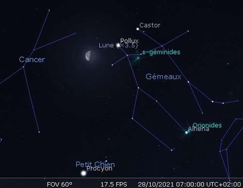 La Lune en rapprochement avec Pollux et Castor