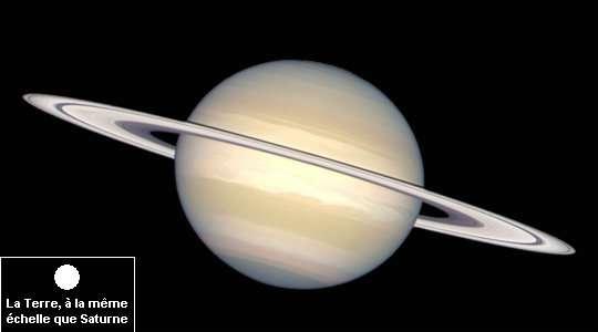 Saturne comparée à la taille de la Terre. Crédit : Nasa / Ministère de l'Éducation Nationale