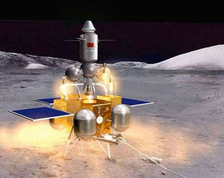 Vue d'artiste de ce à quoi pourrait ressembler le décollage depuis la Lune des échantillons lunaires en direction du véhicule du retour qui les attend en orbite autour de la Terre. © CNSA