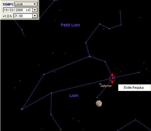 La Lune est en rapprochement avec la planète Saturne, et l'étoile Régulus