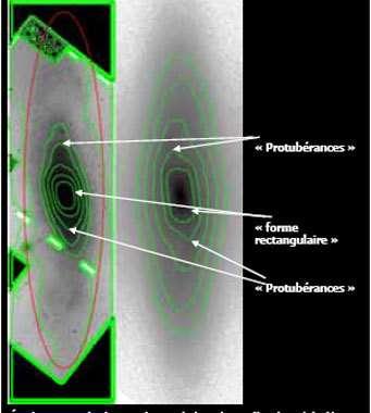 Étude comparée des isophotes de la galaxie d'Andromède (à gauche) et d'un modèle de galaxie barrée (à droite). La forme rectangulaire visible au centre des deux images ainsi que les protubérances asymétriques sont caractéristiques des galaxies barrées.