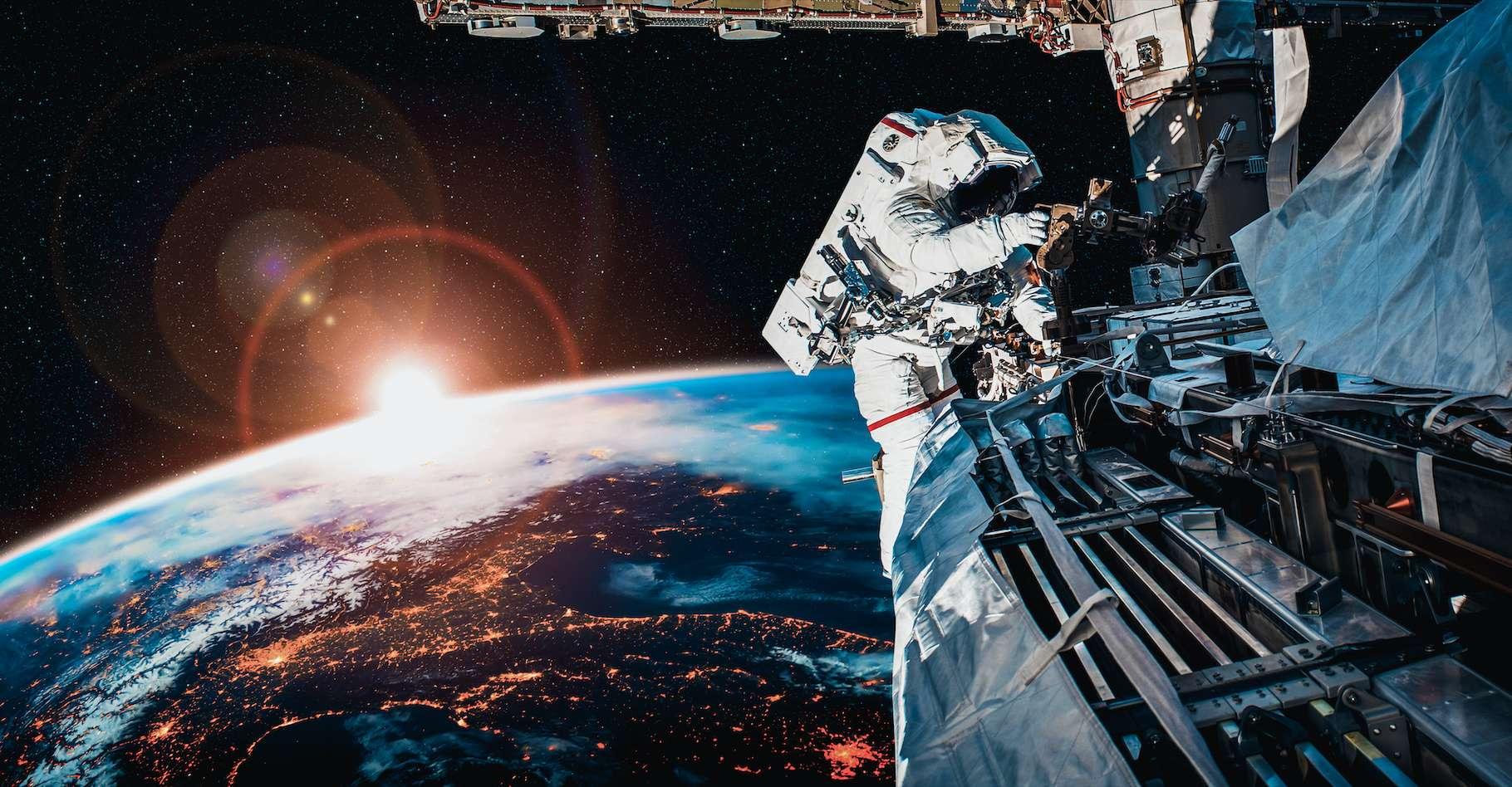 Ce dimanche 12 septembre 2021, Thomas Pesquet est devenu l'astronaute de l'Agence spatiale européenne (ESA) qui a passé le plus de temps en sortie extravéhiculaire : 39 heures et 54 minutes. Ici, une photo d'illustration. © Blue Planet Studio, Adobe Stock