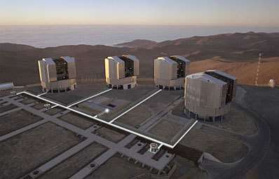 Les 4 télescopes de 8,2 m du Very Large Telescope