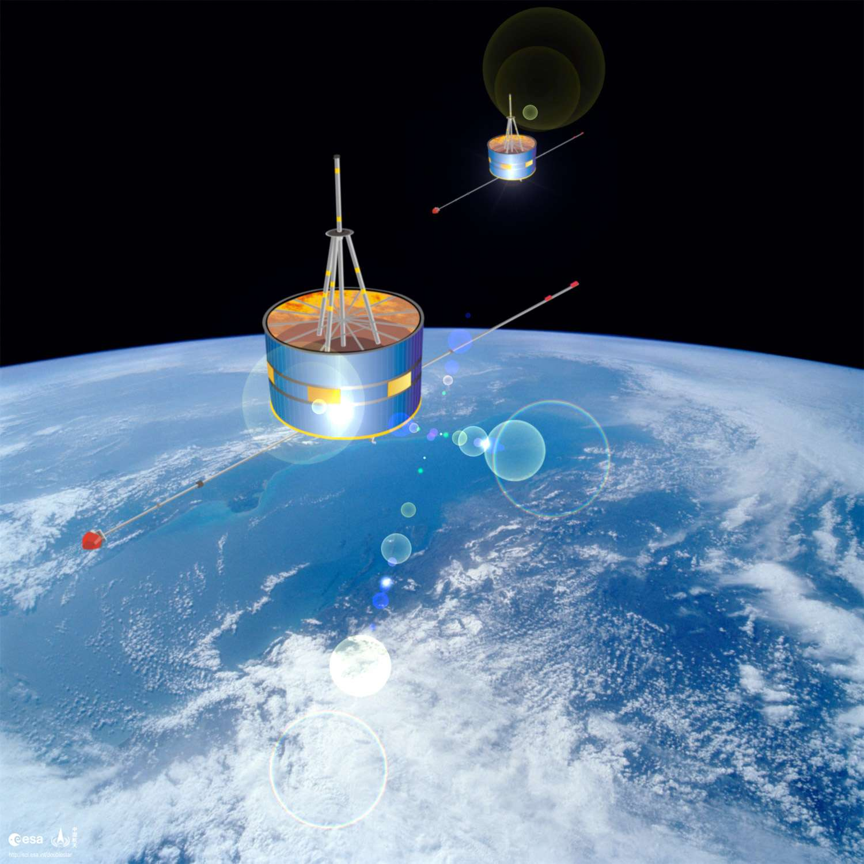 Les vols habités, la Lune et Mars en point de mire. Des télescopes spatiaux, des télescopes terrestres. Des partenariats qui tendent à s'intensifier. Et si la Chine devenait une agence spatiale plus diversifiée pour satisfaire des besoins civils, scientifiques et militaires, et non plus motivée par des considérations de prestige national ? À l'image, les deux satellites de la mission Double Star d'étude de la magnétosphère terrestre. © Esa