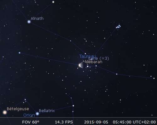 Le 5 septembre : la Lune s'approche d'Aldébaran et l'occulte. ©