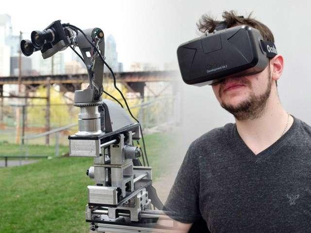 En associant un casque de réalité virtuelle Oculus Rift et un robot télécommandé, une équipe de l'université de Pennsylvanie (États-Unis) a créé une expérience extra-corporelle hautement immersive. © Dora Platform, University of Pennsylvania