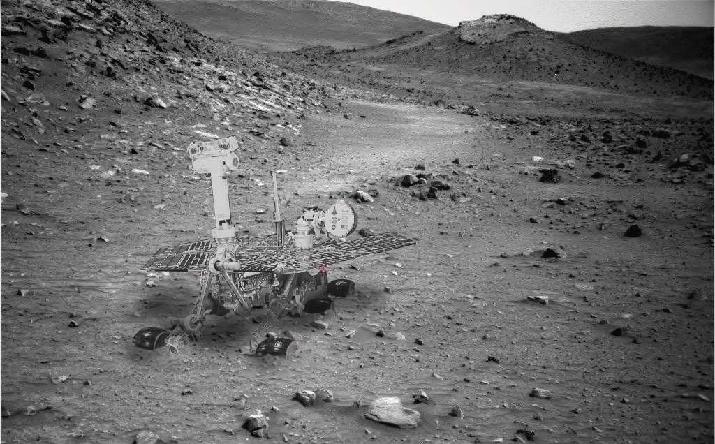 Cette image est un montage qui montre la position dans laquelle doit se trouver le rover Spirit sur Mars depuis janvier 2010. © Nasa/Stu Atkinson