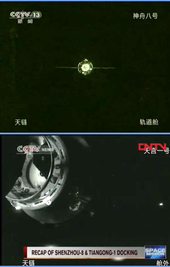 Signe des temps et de la confiance dans ses capacités, la Chine a retransmis en direct l'amarrage de Shenzhou-8 au module Tiangong-1. © CCTV