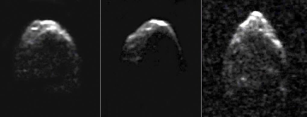 Images radars de l'astéroïde 1950 DA acquises par l'observatoire d'Arecibo en mars 2001. D'une résolution de 15 mètres, elles ont été prises alors que l'astéroïde se situait à quelque 0.052 UA ou 7.8 millions de kilomètres de la Terre. © NRAO