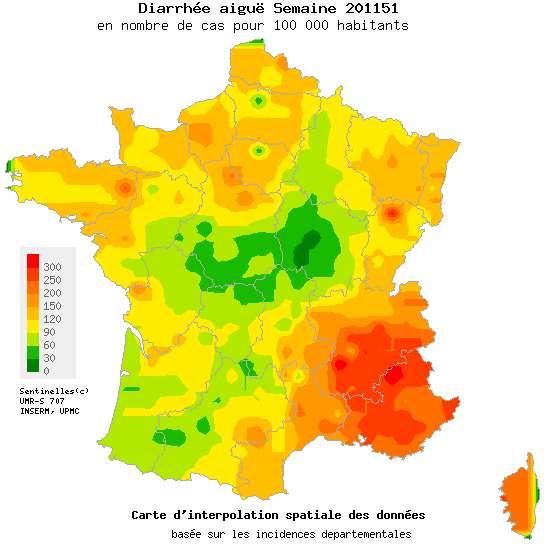 Pour l'heure, le sud-est de la France est le plus touché tandis que le centre et le sud-ouest semblent relativement épargnés. © Réseau Sentinelles