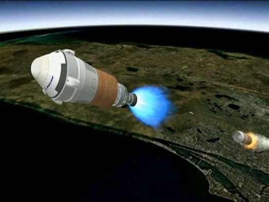Vue d'artiste du CST-100, un véhicule spatial pour le transport d'astronautes par Boeing et Bigelow Aerospace. Dans le cadre de son budget pour l'année fiscale 2013, la Nasa n'obtient pas le financement demandé pour son partenariat public-privé. Si cela ne remet pas en cause sa stratégie de confier la desserte de l'ISS au secteur privé, cette révision à la baisse va vraisemblablement reporter l'ouverture de ce service commercial. © Boeing