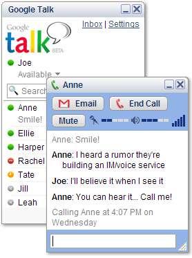 Interface Gogle Talk