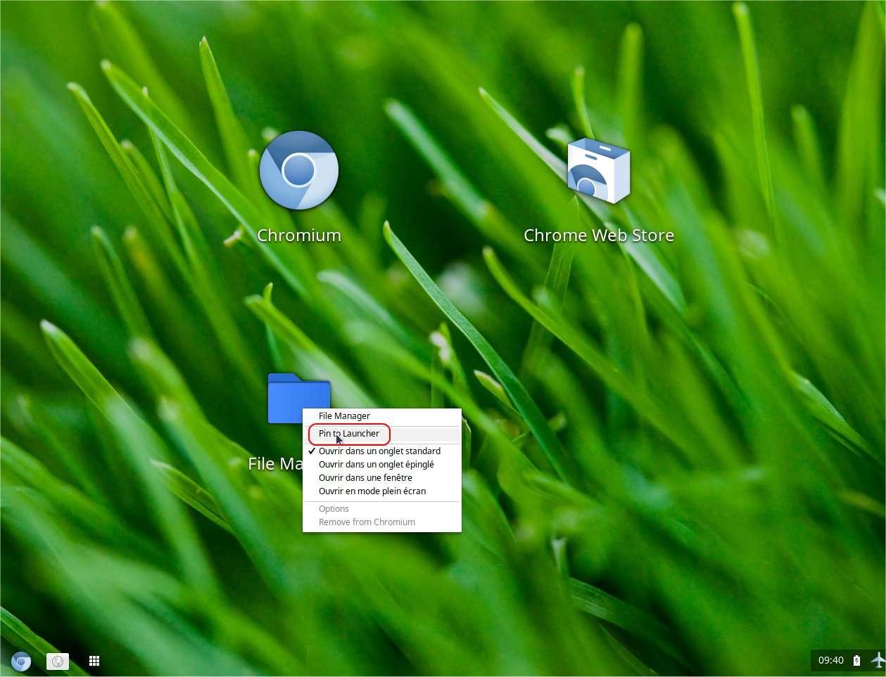 Pour ajouter une application à la barre des tâches translucide, il faut faire un clic droit sur son icône. © E. P./Futura-Sciences