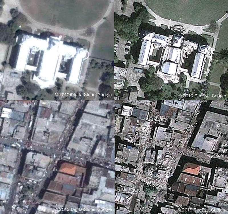 Cette mosaïque de plusieurs images satellites montre le Palais présidentiel et un quartier de Port-au-Prince avant et après le tremblement de terre. Crédits DigitalGlobe & GeoEye