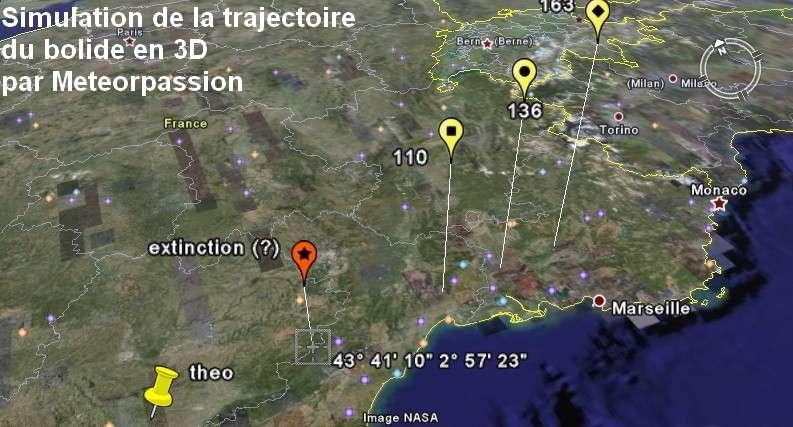 43° 41' (latitude N), 2° 57' (longitude E), moins de 100 km d'altitude : le bolide disparaît en altitude après une descente vers l'est. © Meteorpassion