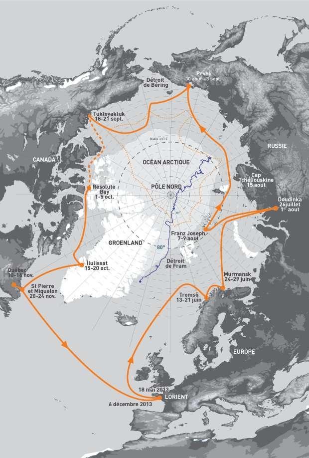 Le parcours de la mission Tara Oceans Polar Circle. Après la Norvège, la goélette Tara naviguera au nord des côtes russes et atteindra l'Alaska en septembre 2013. En passant au-dessus de l'archipel canadien, le navire arrivera à Saint-Pierre-et-Miquelon à la fin de novembre, alors que les glaces auront refermé derrière lui le passage du nord-ouest. Début décembre, le voilier retrouvera Lorient, son port d'attache. © Tara Oceans Polar Circle