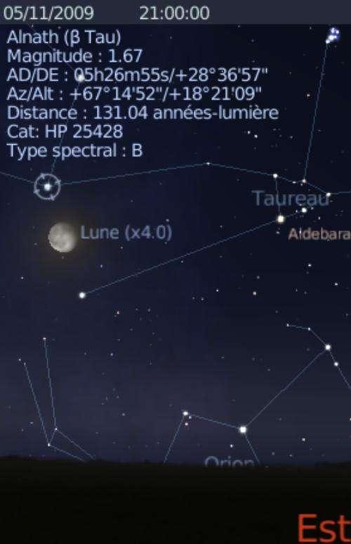 La Lune est en rapprochement avec l'étoile Alnath