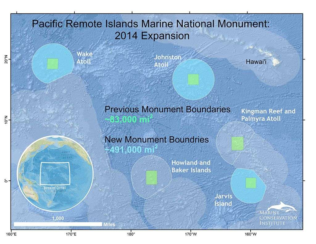 Le territoire initial du Pacific Remote Islands Marine National Monument, en vert, et l'extension annoncée, en bleu, qui augmente la surface jusqu'à 491.000 miles carrés (environ 1.300.000 km2), contre 87.000 actuellement. À gauche, en encart, la carte montre la région de l'océan Pacifique où se trouvent ces îles. © Beth Pike, Marine Conservation Institute, licence Creative Commons (by-nc-sa 3.0)