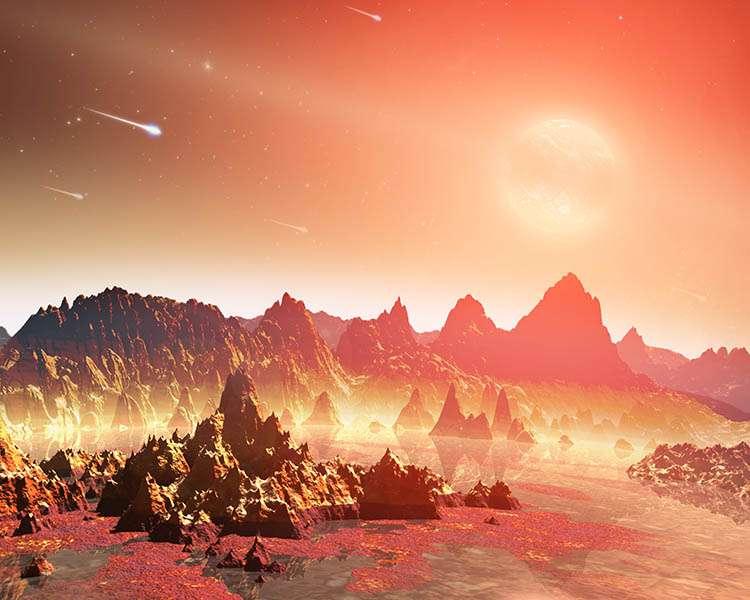 Une vue d'artiste d'une soupe chaude primitive à la surface d'une jeune exoterre autour d'une naine rouge. Crédit : Nasa/JPL-Caltech