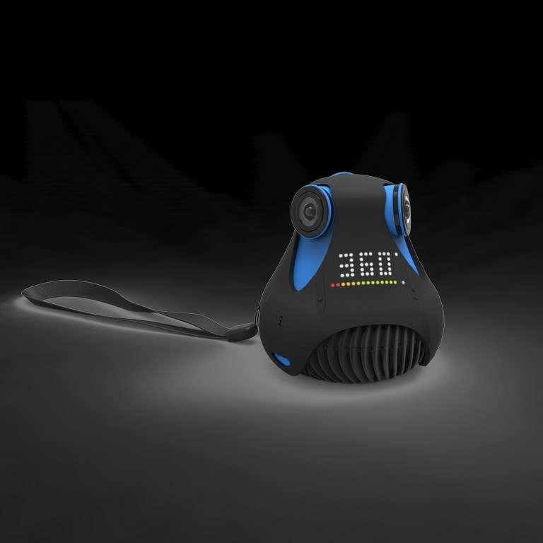 La 360cam, compacte, filme à 360° en qualité full HD. Mise au point par la société française Giroptic, elle intègre trois caméras synchronisées en temps réel qui filment dans toutes les directions. © Giroptic
