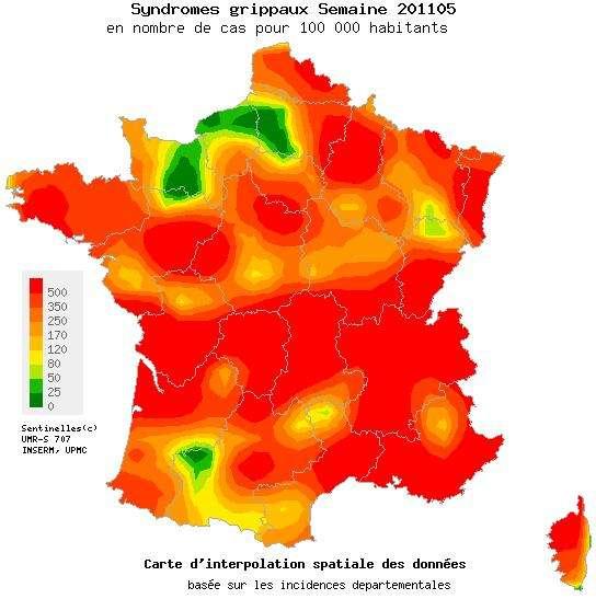 L'épidémie de grippe recommence son ascension. © Réseau Sentinelles
